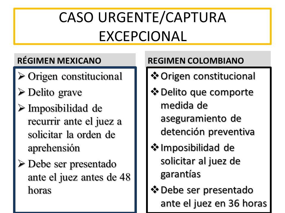 CASO URGENTE/CAPTURA EXCEPCIONAL RÉGIMEN MEXICANO Origen constitucional Origen constitucional Delito grave Delito grave Imposibilidad de recurrir ante