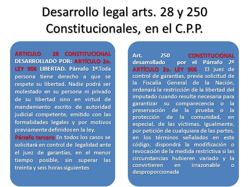 Desarrollo legal arts. 28 y 250 Constitucionales, en el C.P.P. ARTICULO 28 CONSTITUCIONAL DESARROLLADO POR: ARTÍCULO 2o. LEY 906 LIBERTAD. Párrafo 1º.