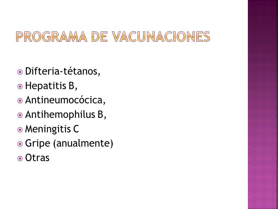 Difteria-tétanos, Hepatitis B, Antineumocócica, Antihemophilus B, Meningitis C Gripe (anualmente) Otras