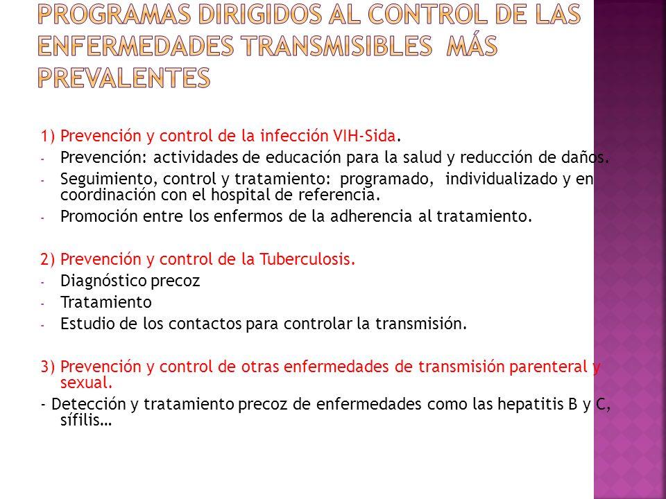 1) Prevención y control de la infección VIH-Sida. - Prevención: actividades de educación para la salud y reducción de daños. - Seguimiento, control y