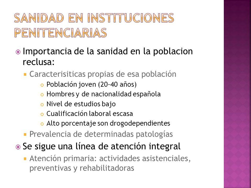 Importancia de la sanidad en la poblacion reclusa: Caracterisiticas propias de esa población Población joven (20-40 años) Hombres y de nacionalidad es