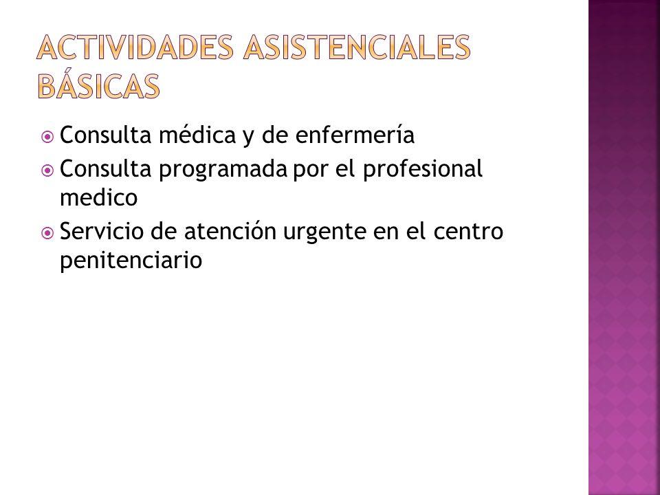 Consulta médica y de enfermería Consulta programada por el profesional medico Servicio de atención urgente en el centro penitenciario