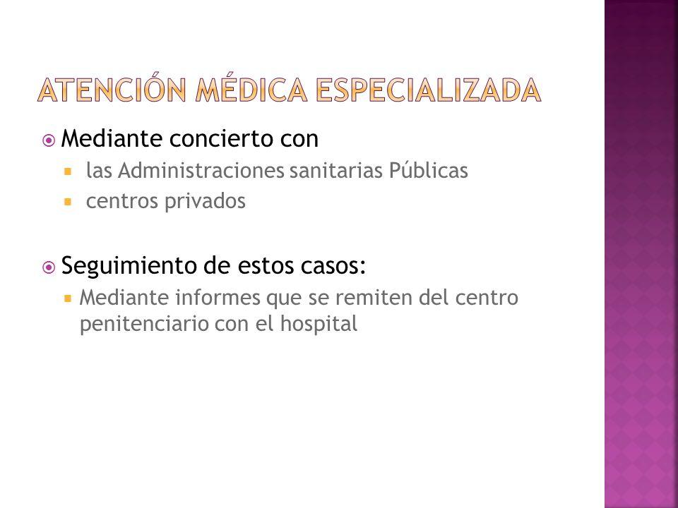 Mediante concierto con las Administraciones sanitarias Públicas centros privados Seguimiento de estos casos: Mediante informes que se remiten del cent