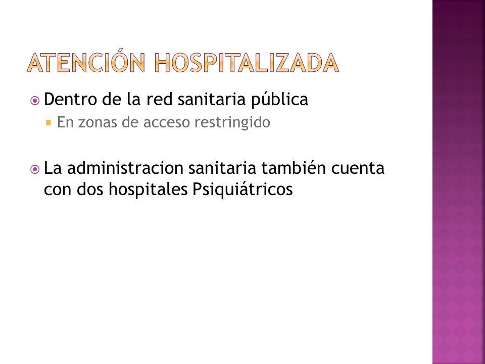 Dentro de la red sanitaria pública En zonas de acceso restringido La administracion sanitaria también cuenta con dos hospitales Psiquiátricos