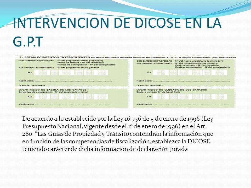 INTERVENCION DE DICOSE EN LA G.P.T De acuerdo a lo establecido por la Ley 16.736 de 5 de enero de 1996 (Ley Presupuesto Nacional, vigente desde el 1º