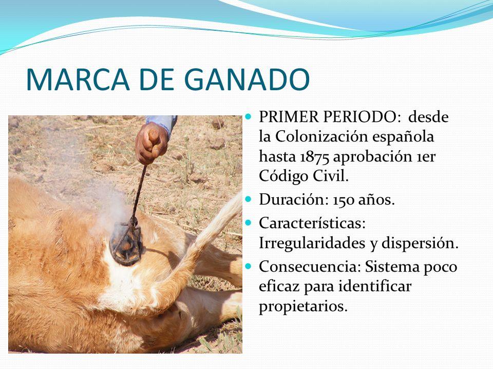 MARCA DE GANADO PRIMER PERIODO: desde la Colonización española hasta 1875 aprobación 1er Código Civil. Duración: 150 años. Características: Irregulari