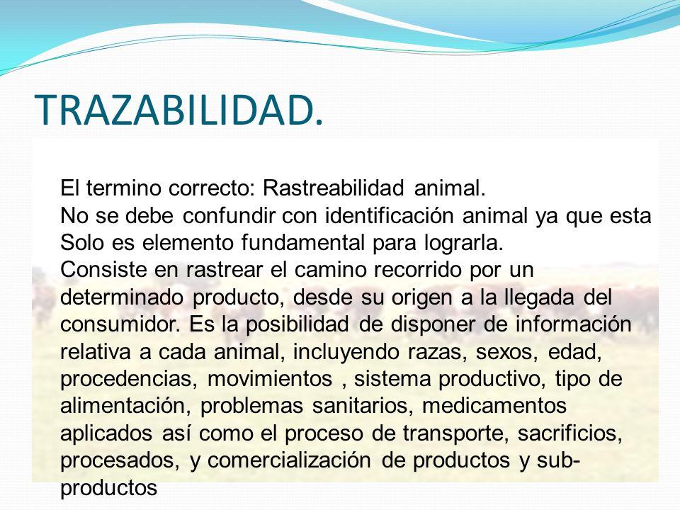 TRAZABILIDAD. El termino correcto: Rastreabilidad animal. No se debe confundir con identificación animal ya que esta Solo es elemento fundamental para