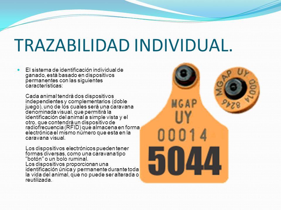 TRAZABILIDAD INDIVIDUAL. El sistema de identificación individual de ganado, está basado en dispositivos permanentes con las siguientes características