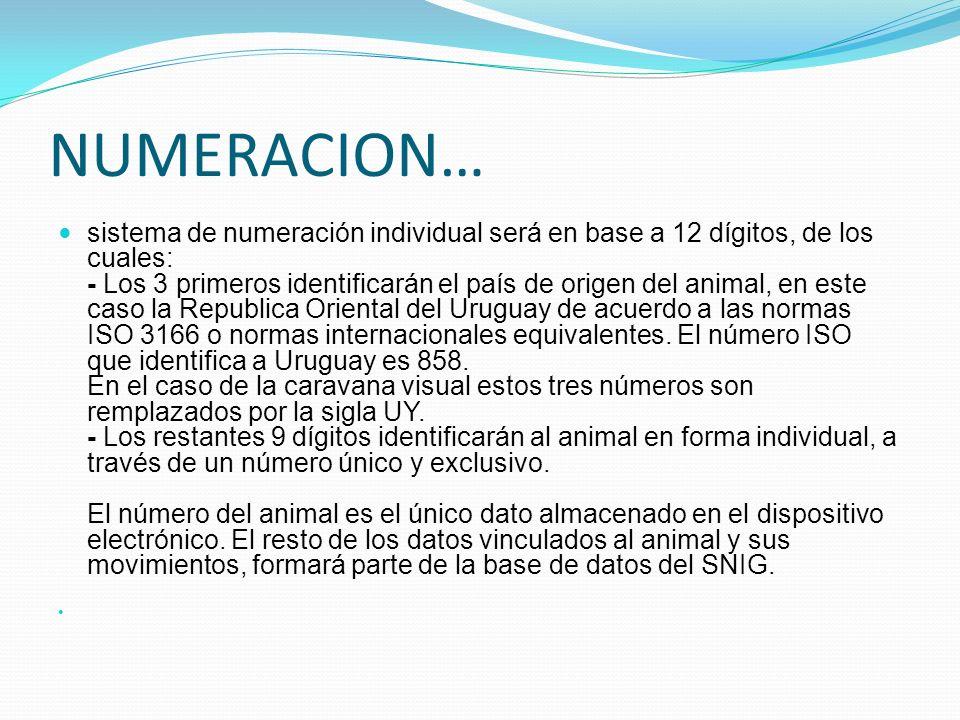 NUMERACION… sistema de numeración individual será en base a 12 dígitos, de los cuales: - Los 3 primeros identificarán el país de origen del animal, en
