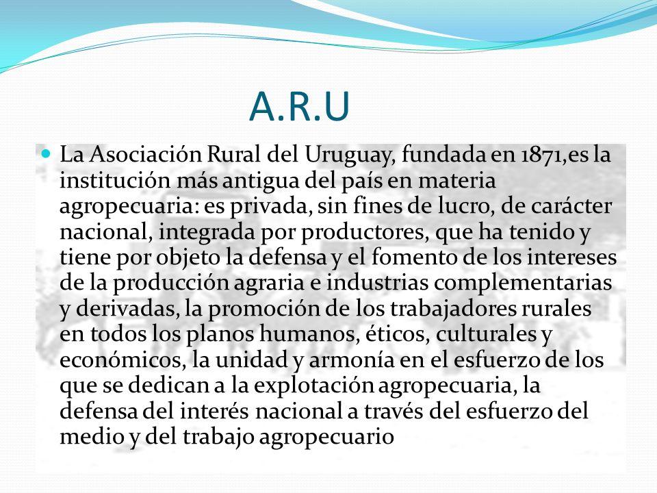 A.R.U La Asociación Rural del Uruguay, fundada en 1871,es la institución más antigua del país en materia agropecuaria: es privada, sin fines de lucro,