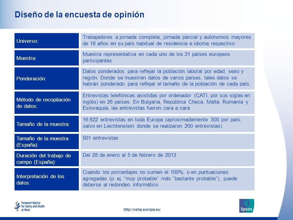 2 http://osha.europa.eu Diseño de la encuesta de opinión Universo: Trabajadores a jornada completa, jornada parcial y autónomos mayores de 18 años en