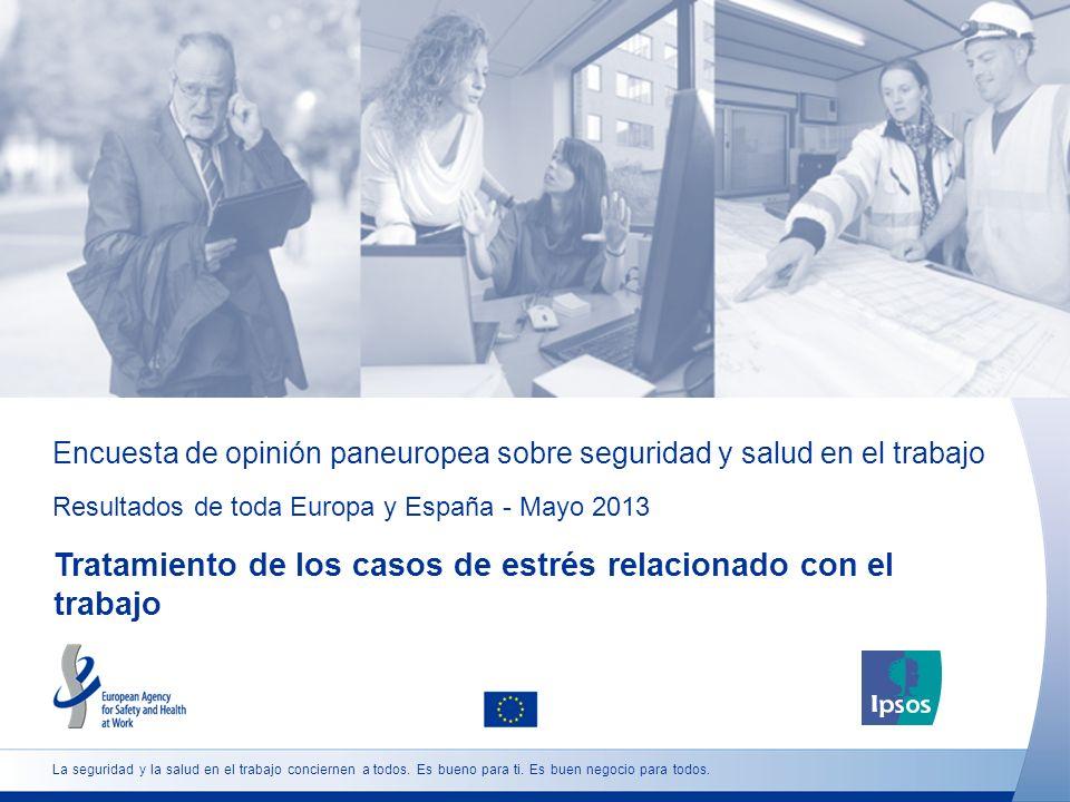 Encuesta de opinión paneuropea sobre seguridad y salud en el trabajo Resultados de toda Europa y España - Mayo 2013 Tratamiento de los casos de estrés relacionado con el trabajo La seguridad y la salud en el trabajo conciernen a todos.