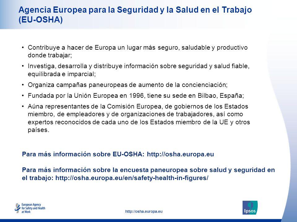 52 http://osha.europa.eu Agencia Europea para la Seguridad y la Salud en el Trabajo (EU-OSHA) Contribuye a hacer de Europa un lugar más seguro, saluda