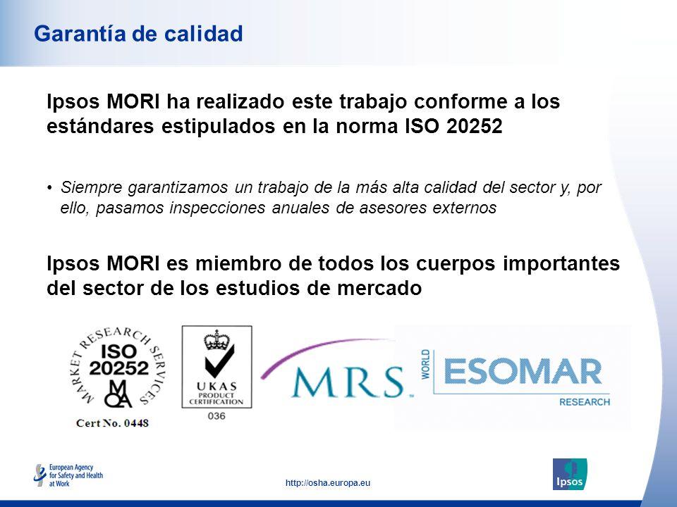 53 http://osha.europa.eu Ipsos MORI ha realizado este trabajo conforme a los estándares estipulados en la norma ISO 20252 Garantía de calidad Ipsos MO