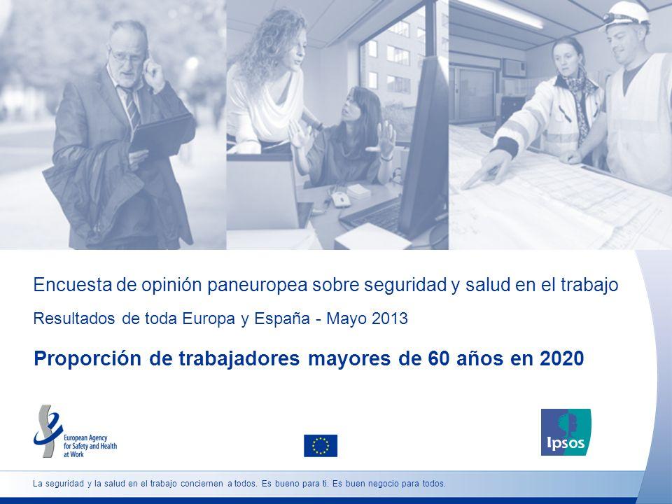 Encuesta de opinión paneuropea sobre seguridad y salud en el trabajo Resultados de toda Europa y España - Mayo 2013 Proporción de trabajadores mayores de 60 años en 2020 La seguridad y la salud en el trabajo conciernen a todos.