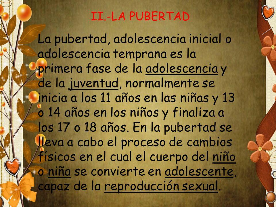 La pubertad, adolescencia inicial o adolescencia temprana es la primera fase de la adolescencia y de la juventud, normalmente se inicia a los 11 años