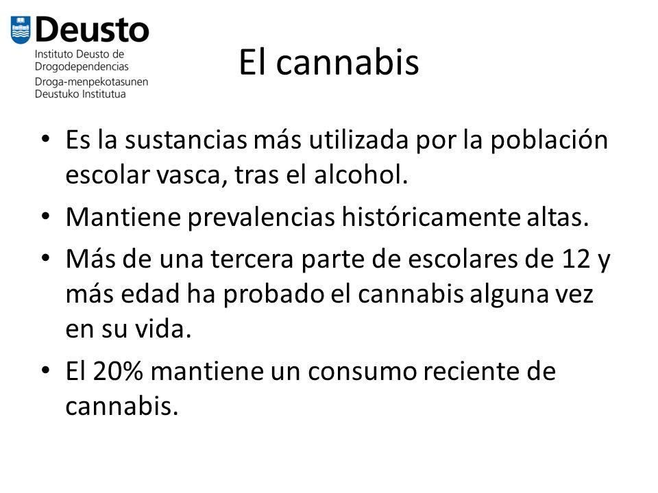 El cannabis Es la sustancias más utilizada por la población escolar vasca, tras el alcohol. Mantiene prevalencias históricamente altas. Más de una ter