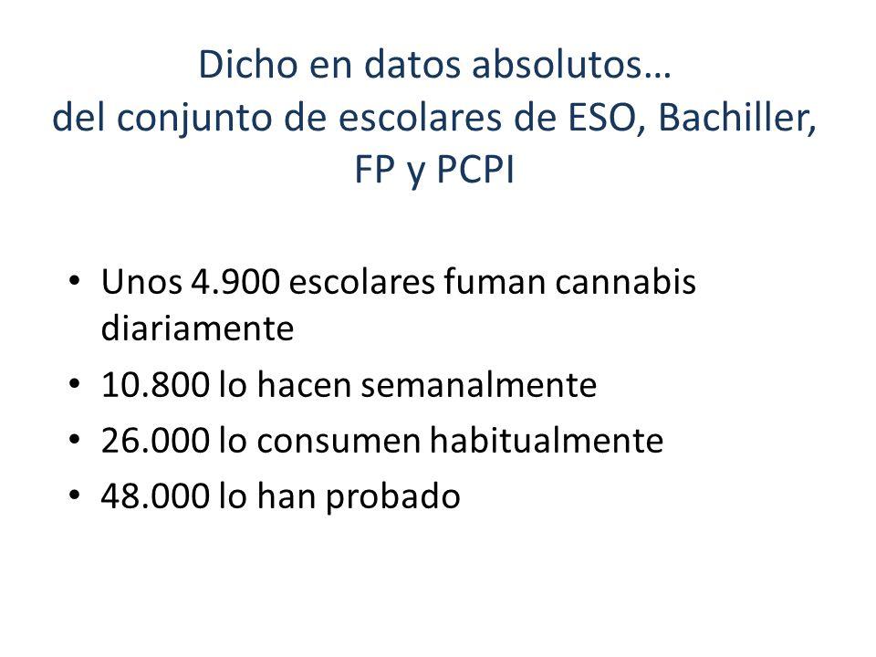 Dicho en datos absolutos… del conjunto de escolares de ESO, Bachiller, FP y PCPI Unos 4.900 escolares fuman cannabis diariamente 10.800 lo hacen seman