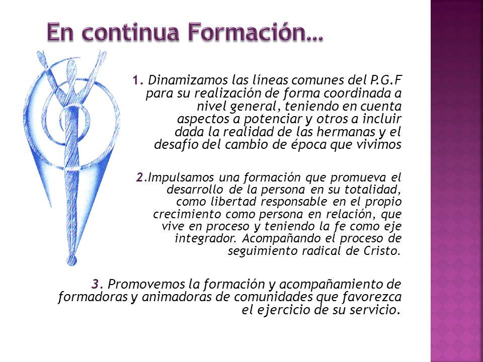 1. Dinamizamos las líneas comunes del P.G.F para su realización de forma coordinada a nivel general, teniendo en cuenta aspectos a potenciar y otros a