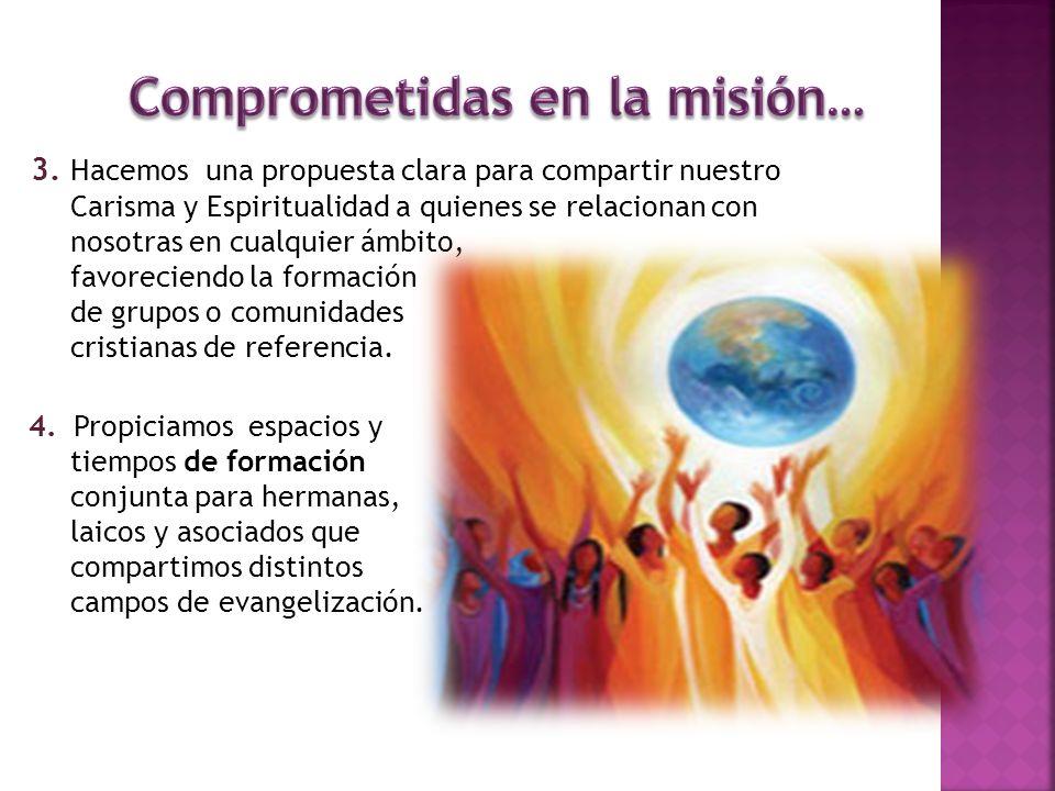 3. Hacemos una propuesta clara para compartir nuestro Carisma y Espiritualidad a quienes se relacionan con nosotras en cualquier ámbito, favoreciendo