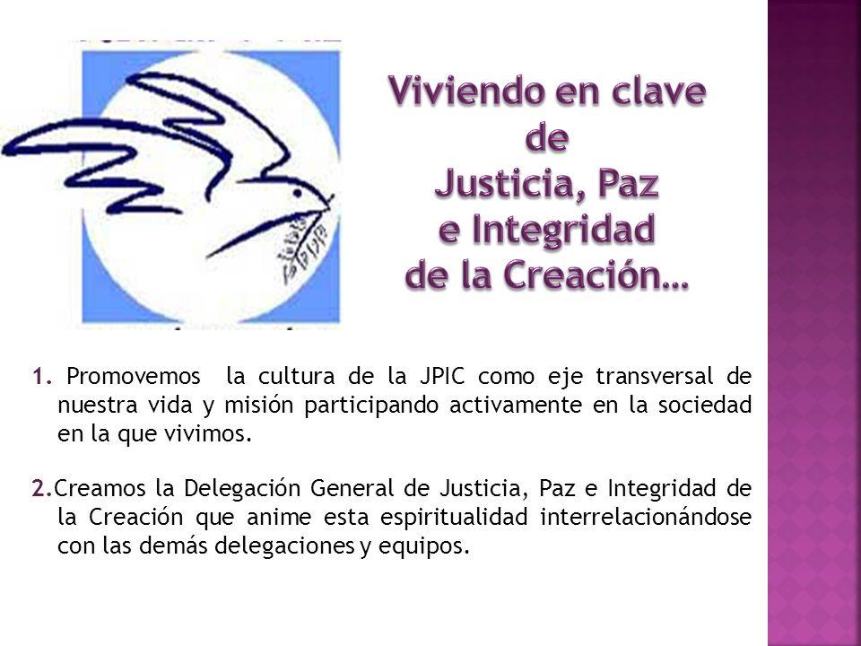 1. Promovemos la cultura de la JPIC como eje transversal de nuestra vida y misión participando activamente en la sociedad en la que vivimos. 2.Creamos