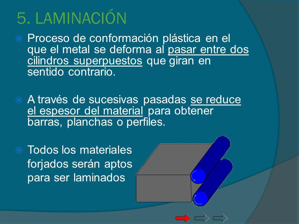 5. LAMINACIÓN Proceso de conformación plástica en el que el metal se deforma al pasar entre dos cilindros superpuestos que giran en sentido contrario.