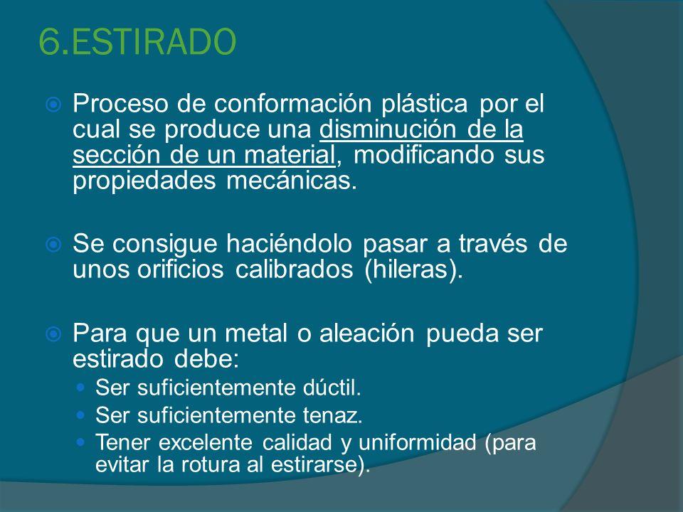 6.ESTIRADO Proceso de conformación plástica por el cual se produce una disminución de la sección de un material, modificando sus propiedades mecánicas