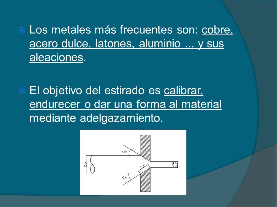 Los metales más frecuentes son: cobre, acero dulce, latones, aluminio... y sus aleaciones. El objetivo del estirado es calibrar, endurecer o dar una f