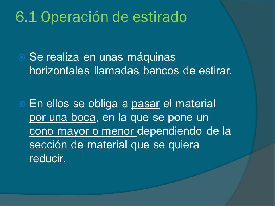 6.1 Operación de estirado Se realiza en unas máquinas horizontales llamadas bancos de estirar. En ellos se obliga a pasar el material por una boca, en