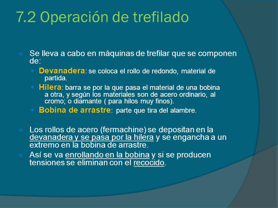 7.2 Operación de trefilado Se lleva a cabo en máquinas de trefilar que se componen de: Devanadera : se coloca el rollo de redondo, material de partida