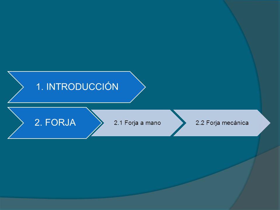 2.FORJA Consiste en dar forma a los metales sometiéndolos a esfuerzos violentos de compresión generalmente en caliente, que pueden ser repetitivos o continuos.
