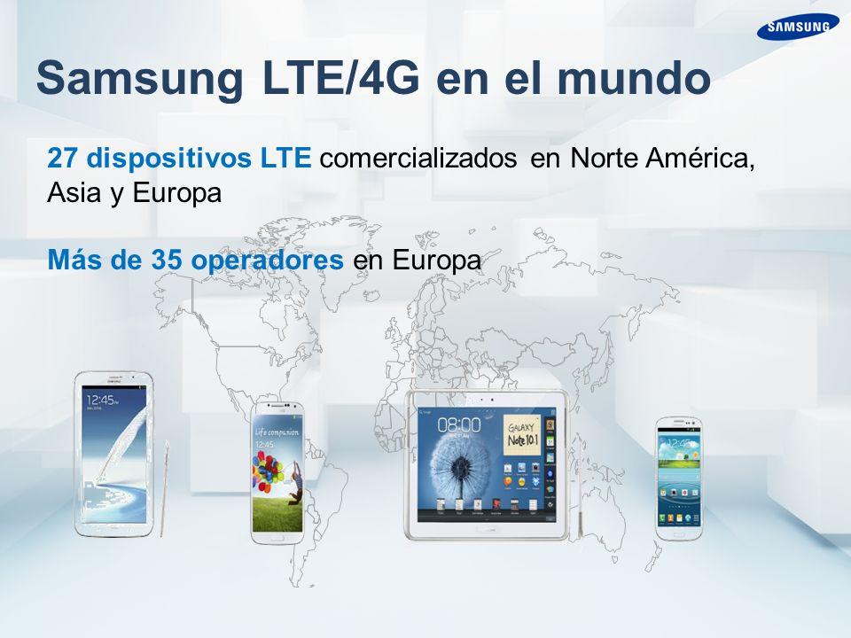 Samsung LTE/4G en el mundo 27 dispositivos LTE comercializados en Norte América, Asia y Europa Más de 35 operadores en Europa