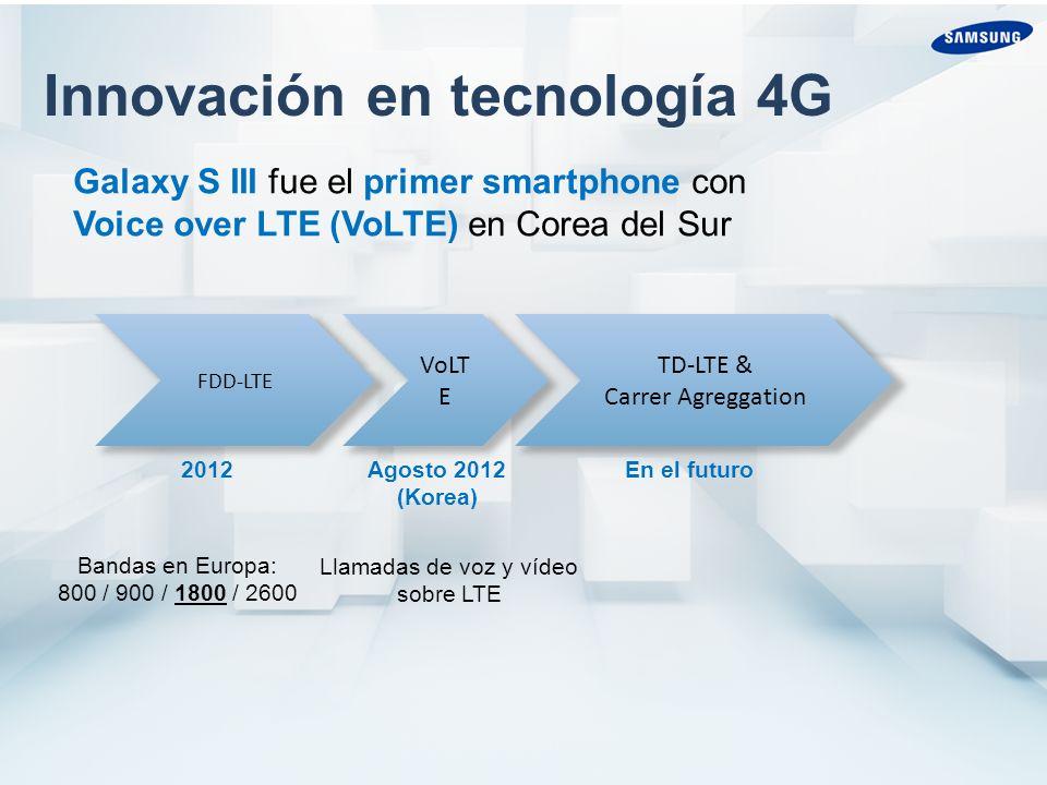 Innovación en tecnología 4G FDD-LTE VoLT E TD-LTE & Carrer Agreggation 2012 Agosto 2012 (Korea) En el futuro Bandas en Europa: 800 / 900 / 1800 / 2600 Galaxy S III fue el primer smartphone con Voice over LTE (VoLTE) en Corea del Sur Llamadas de voz y vídeo sobre LTE
