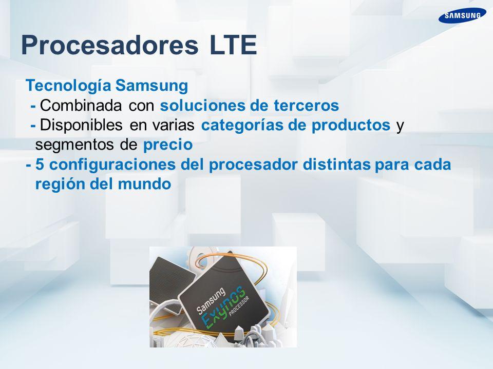 Procesadores LTE Tecnología Samsung - Combinada con soluciones de terceros - Disponibles en varias categorías de productos y segmentos de precio - 5 configuraciones del procesador distintas para cada región del mundo