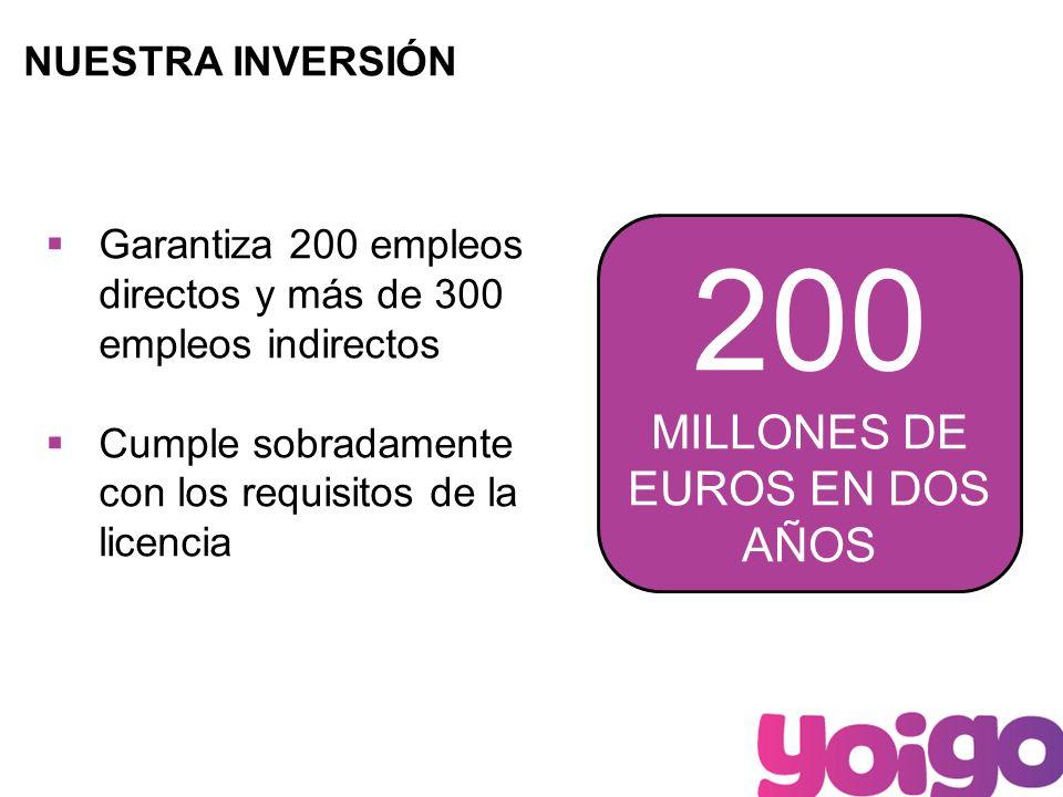 9 NUESTRA INVERSIÓN 200 MILLONES DE EUROS EN DOS AÑOS Garantiza 200 empleos directos y más de 300 empleos indirectos Cumple sobradamente con los requisitos de la licencia