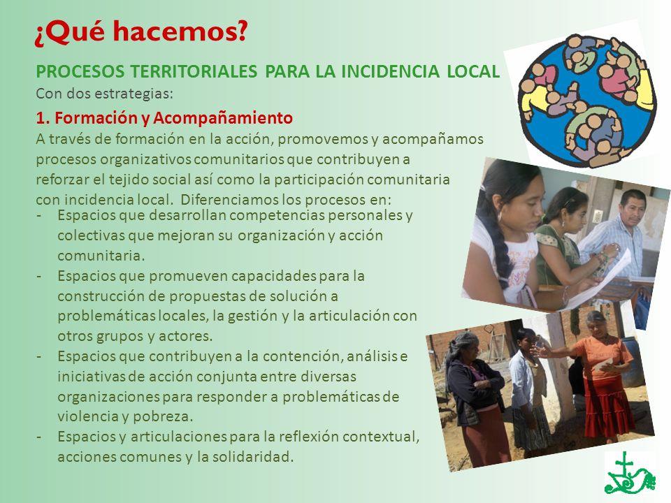 ¿Qué hacemos? -Espacios que desarrollan competencias personales y colectivas que mejoran su organización y acción comunitaria. -Espacios que promueven