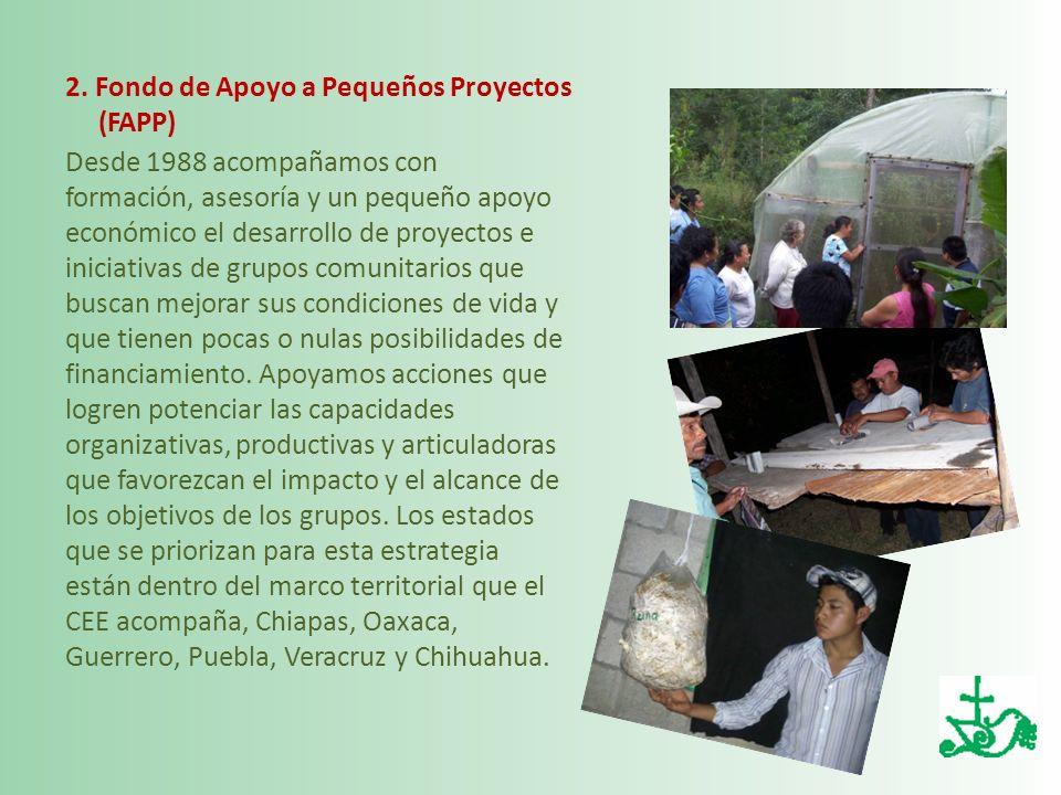 2. Fondo de Apoyo a Pequeños Proyectos (FAPP) Desde 1988 acompañamos con formación, asesoría y un pequeño apoyo económico el desarrollo de proyectos e