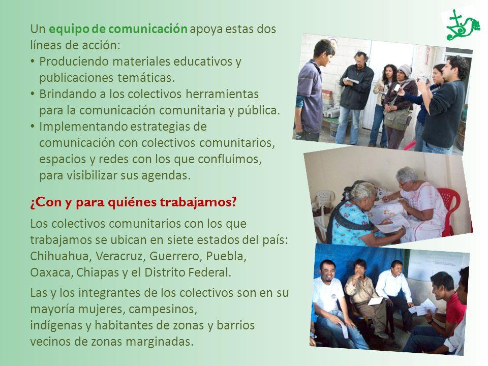 Un equipo de comunicación apoya estas dos líneas de acción: Produciendo materiales educativos y publicaciones temáticas. Brindando a los colectivos he