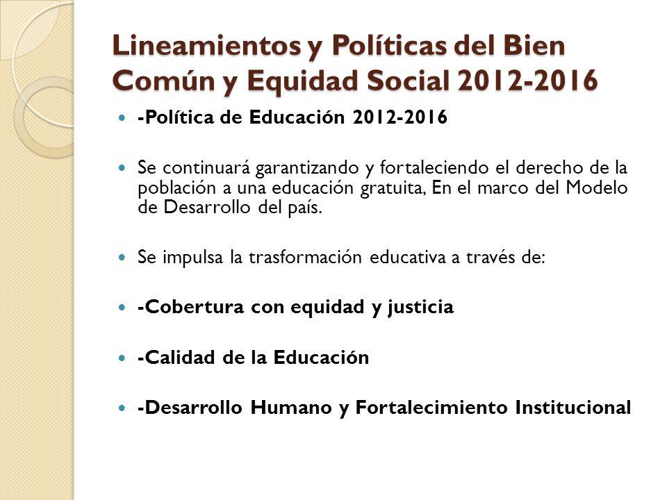 Lineamientos y Políticas del Bien Común y Equidad Social 2012-2016 -Política de Educación 2012-2016 Se continuará garantizando y fortaleciendo el derecho de la población a una educación gratuita, En el marco del Modelo de Desarrollo del país.