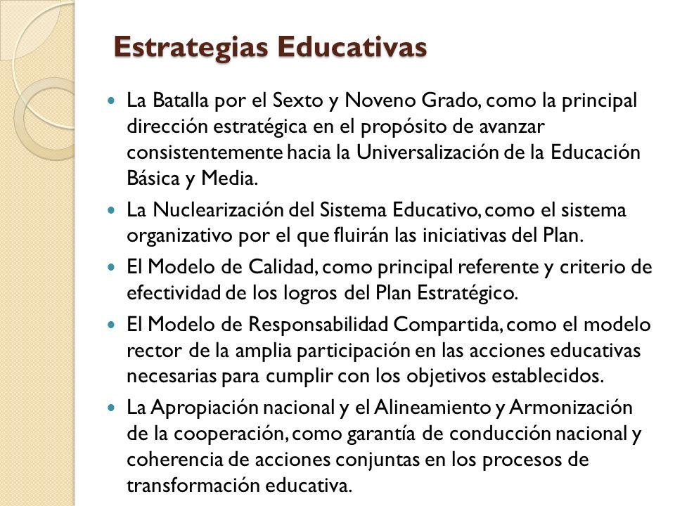 Estrategias Educativas La Batalla por el Sexto y Noveno Grado, como la principal dirección estratégica en el propósito de avanzar consistentemente hacia la Universalización de la Educación Básica y Media.