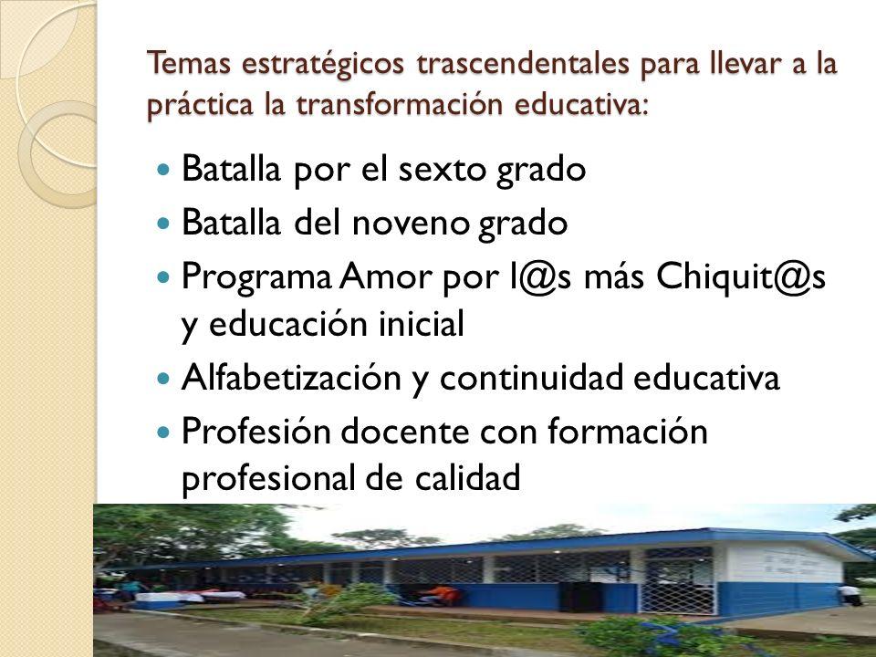 Temas estratégicos trascendentales para llevar a la práctica la transformación educativa: Batalla por el sexto grado Batalla del noveno grado Programa