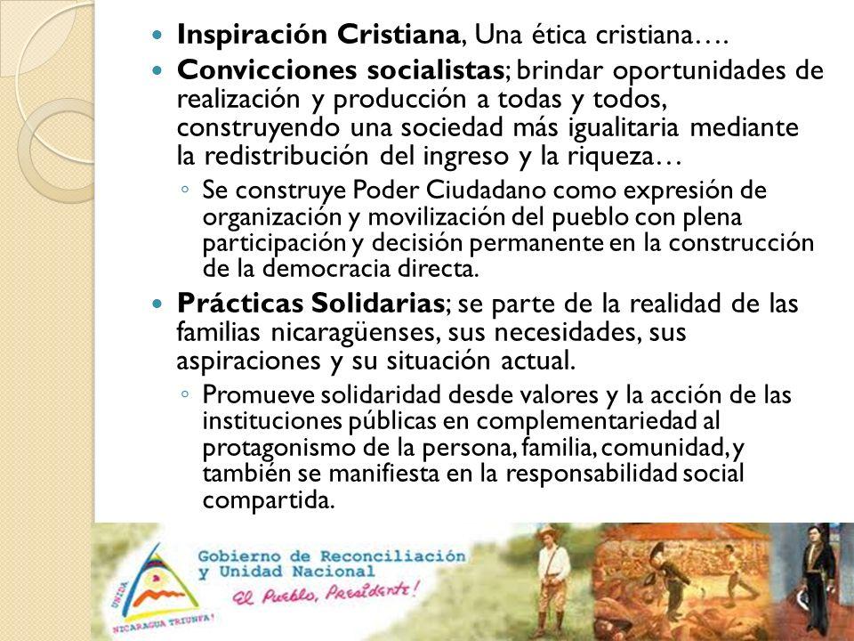 Inspiración Cristiana, Una ética cristiana…. Convicciones socialistas; brindar oportunidades de realización y producción a todas y todos, construyendo