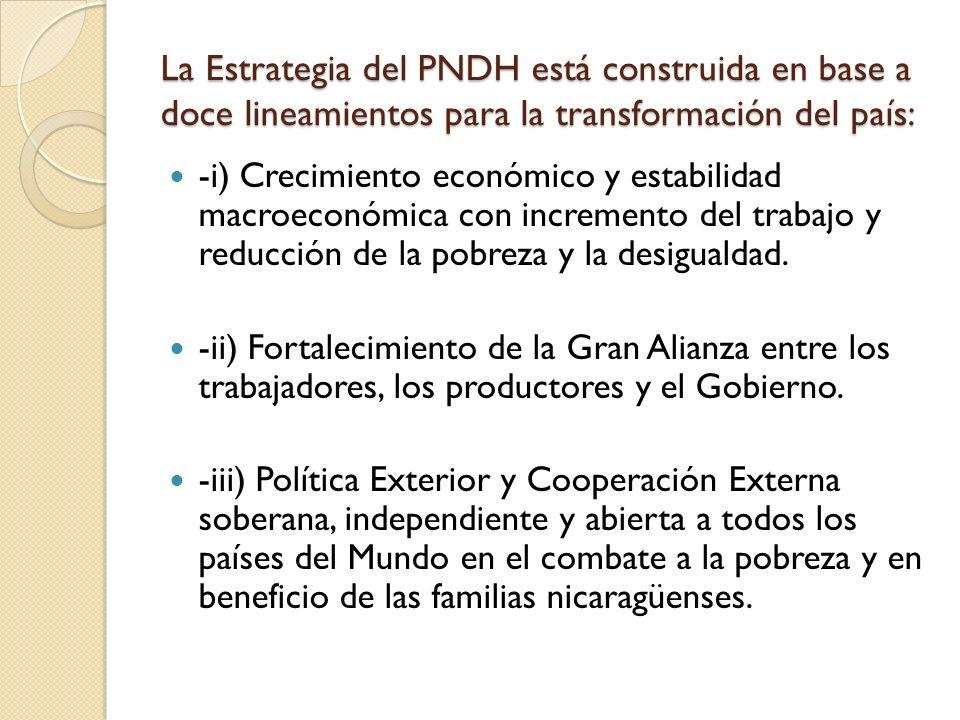 La Estrategia del PNDH está construida en base a doce lineamientos para la transformación del país: -i) Crecimiento económico y estabilidad macroeconómica con incremento del trabajo y reducción de la pobreza y la desigualdad.