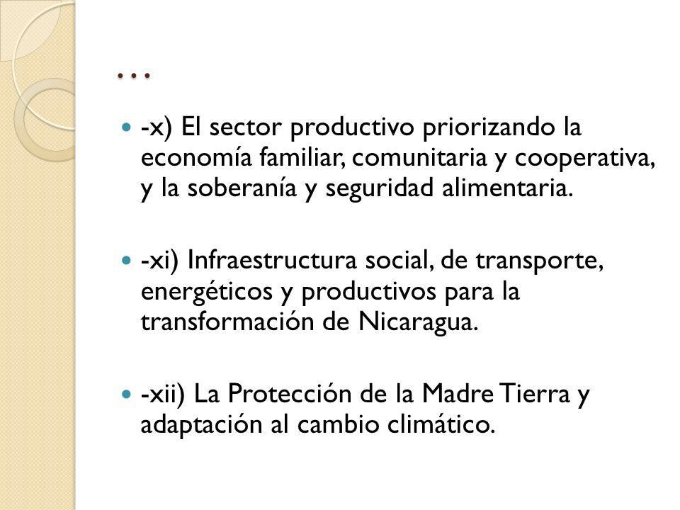 … -x) El sector productivo priorizando la economía familiar, comunitaria y cooperativa, y la soberanía y seguridad alimentaria. -xi) Infraestructura s
