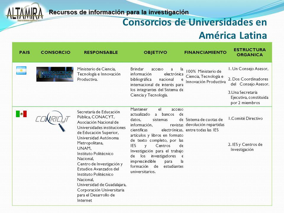 PAISCONSORCIORESPONSABLEOBJETIVOFINANCIAMIENTO ESTRUCTURA ORGANICA Ministerio de Ciencia, Tecnología e Innovación Productiva.