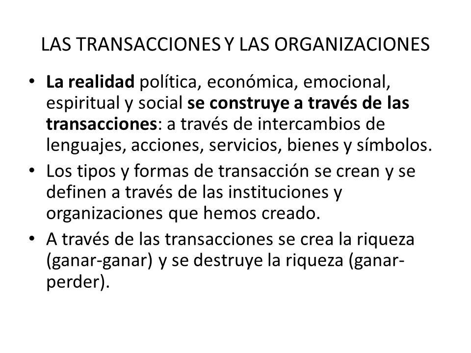 LAS TRANSACCIONES Y LAS ORGANIZACIONES La realidad política, económica, emocional, espiritual y social se construye a través de las transacciones: a través de intercambios de lenguajes, acciones, servicios, bienes y símbolos.