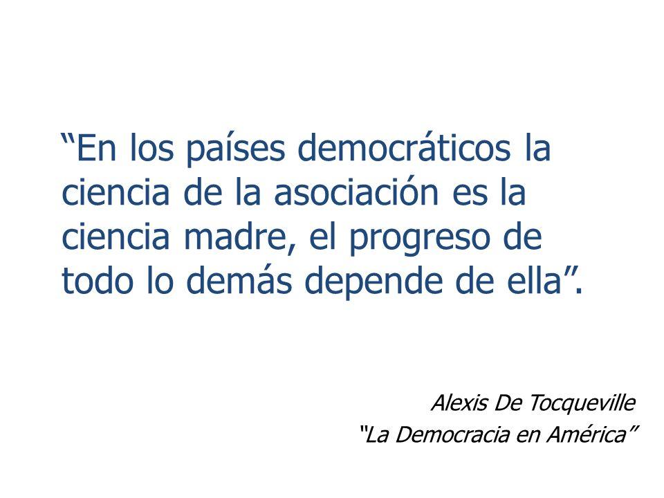 En los países democráticos la ciencia de la asociación es la ciencia madre, el progreso de todo lo demás depende de ella.
