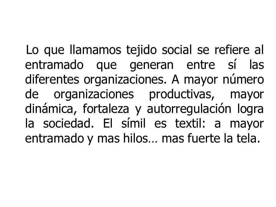 Lo que llamamos tejido social se refiere al entramado que generan entre sí las diferentes organizaciones.