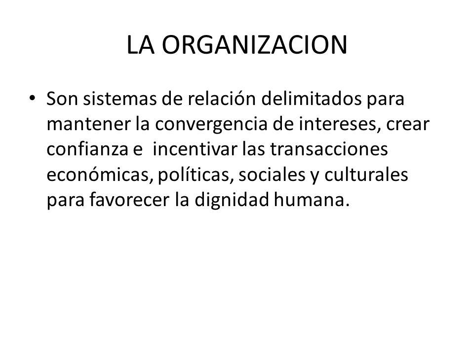 LA ORGANIZACION Son sistemas de relación delimitados para mantener la convergencia de intereses, crear confianza e incentivar las transacciones económicas, políticas, sociales y culturales para favorecer la dignidad humana.