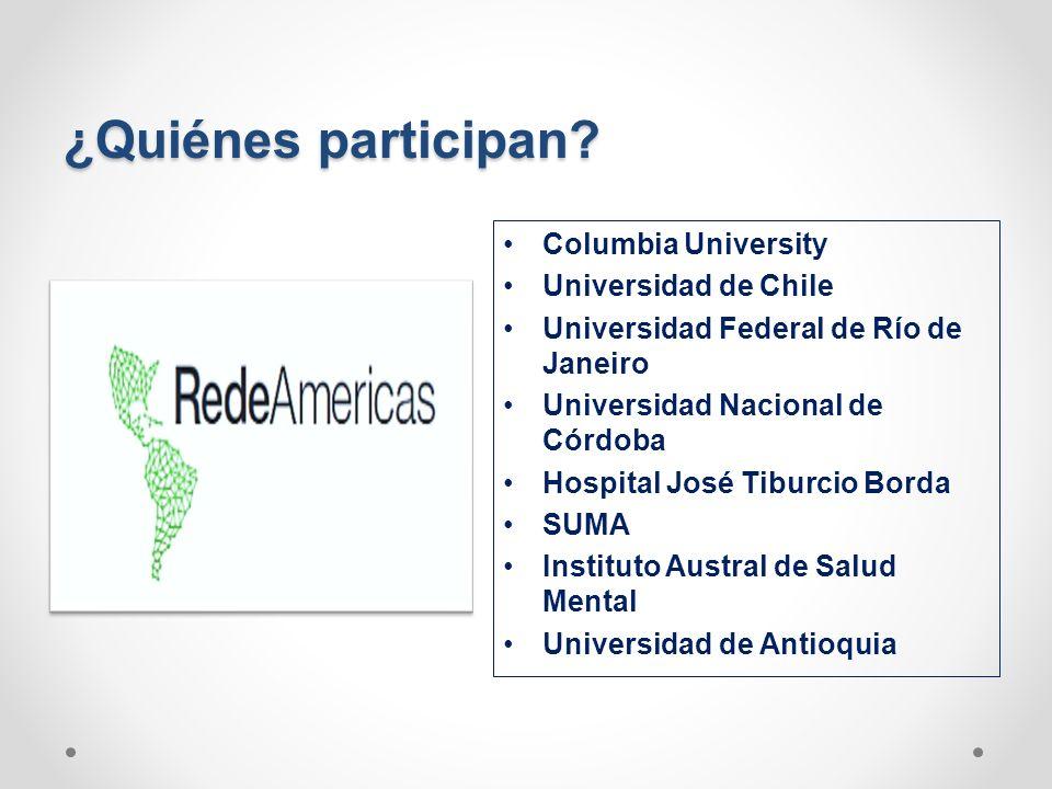 ¿Quiénes participan? Columbia University Universidad de Chile Universidad Federal de Río de Janeiro Universidad Nacional de Córdoba Hospital José Tibu